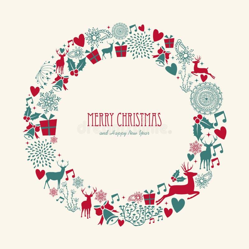 圣诞快乐元素装饰圈子形状。 库存例证
