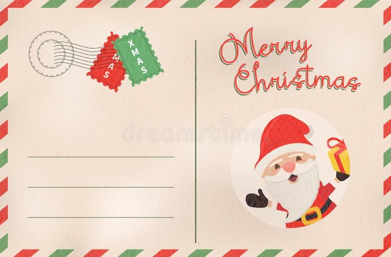 圣诞快乐减速火箭的圣诞老人假日明信片 库存例证