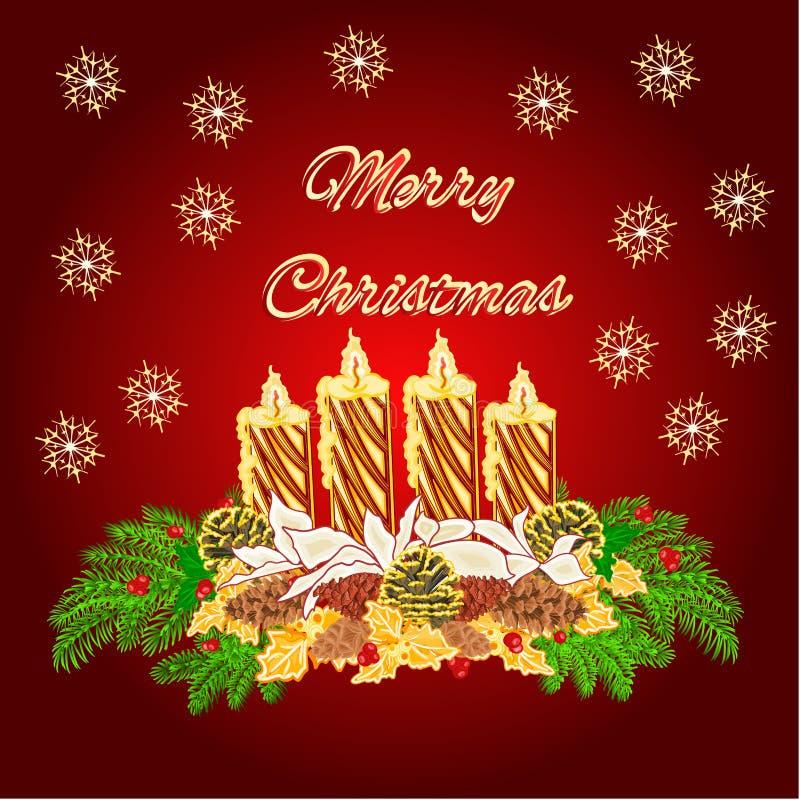 圣诞快乐出现花圈与白色一品红传染媒介的金蜡烛 向量例证
