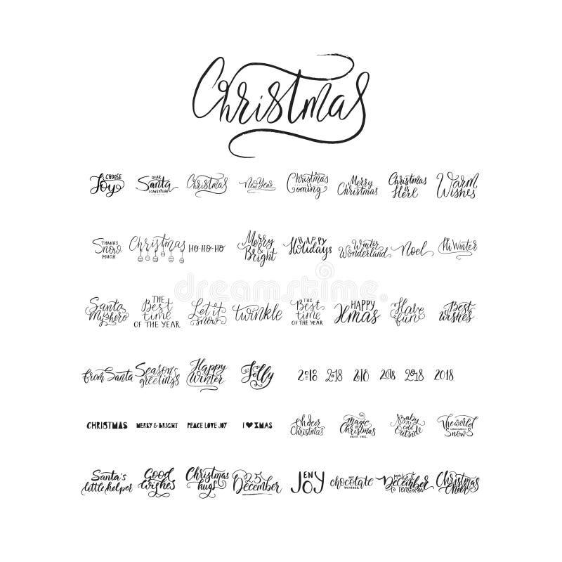 圣诞快乐刷子字法印刷术 50个冬天传染媒介手拉的字法 库存例证