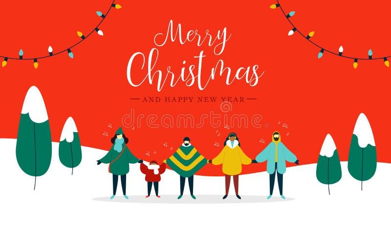 圣诞快乐卡片不同人唱歌 向量例证