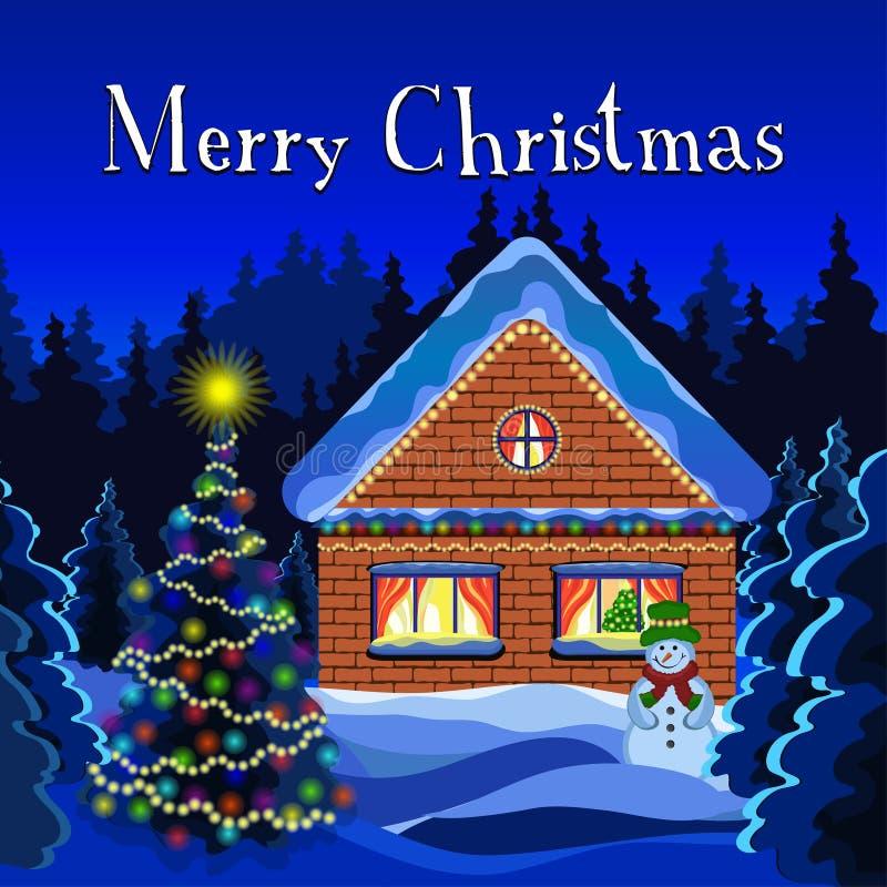 圣诞快乐卡片,冬天圣诞节风景传染媒介图画 夜冬天雪森林,装饰用土气光亮的诗歌选 向量例证