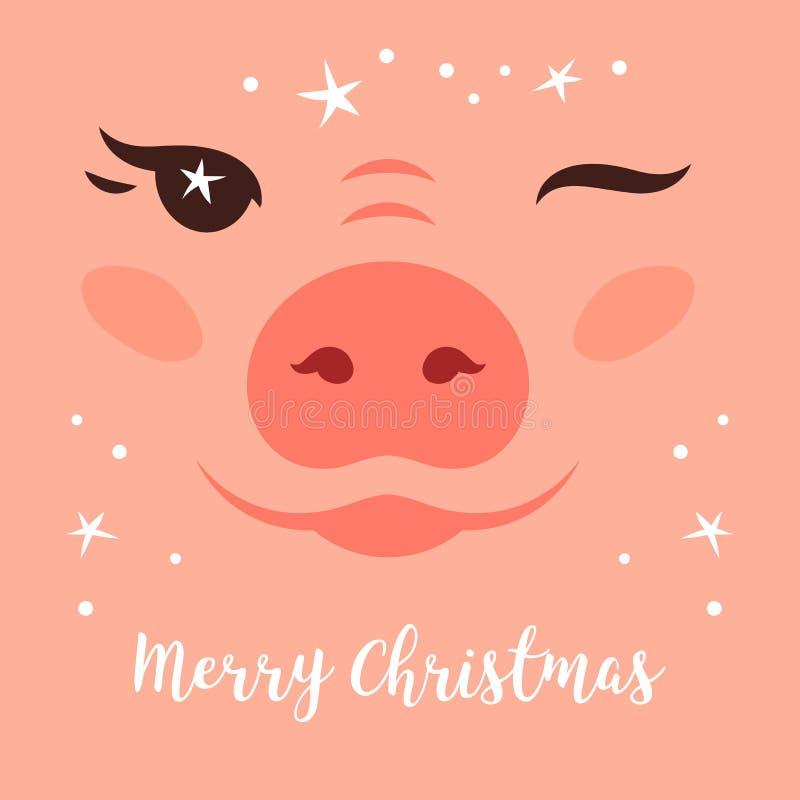 圣诞快乐卡片,滑稽的圣诞节猪 逗人喜爱的猪闪光 闪烁的圣诞节星 看板卡问候节日快乐 皇族释放例证