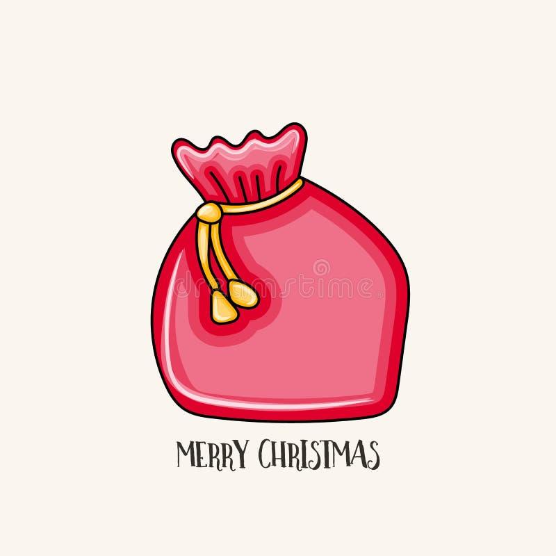 圣诞快乐印刷术 礼物的圣诞老人袋子在红色 皇族释放例证