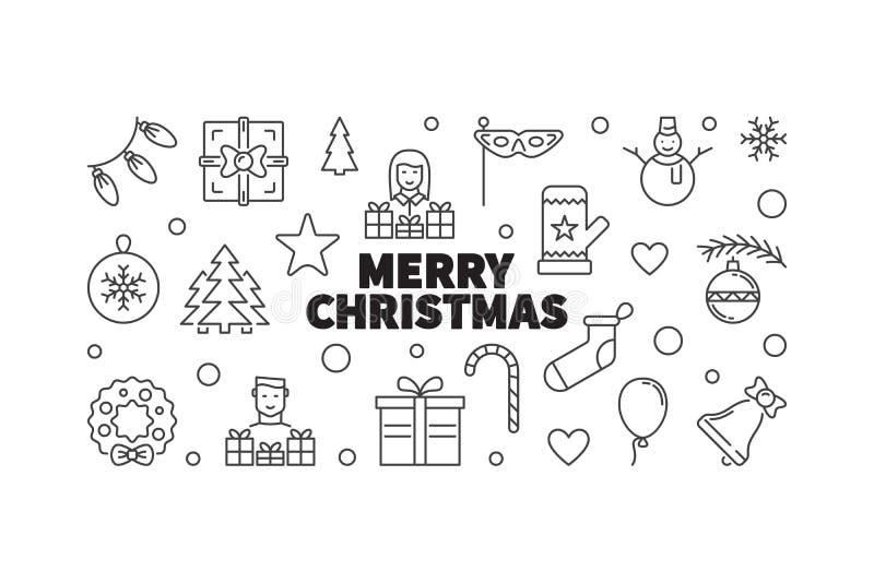 圣诞快乐向量例证 创造性的xmas线横幅 皇族释放例证