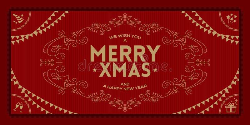 圣诞快乐和一个新年好问候葡萄酒框架 库存例证