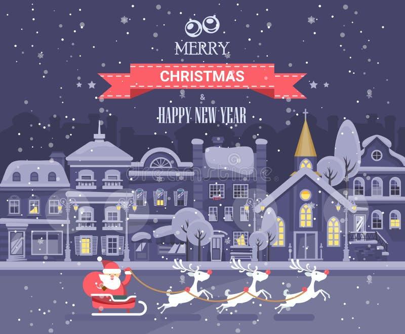 圣诞快乐和一新年好! 圣诞快乐和新年快乐导航在平的样式的贺卡 皇族释放例证