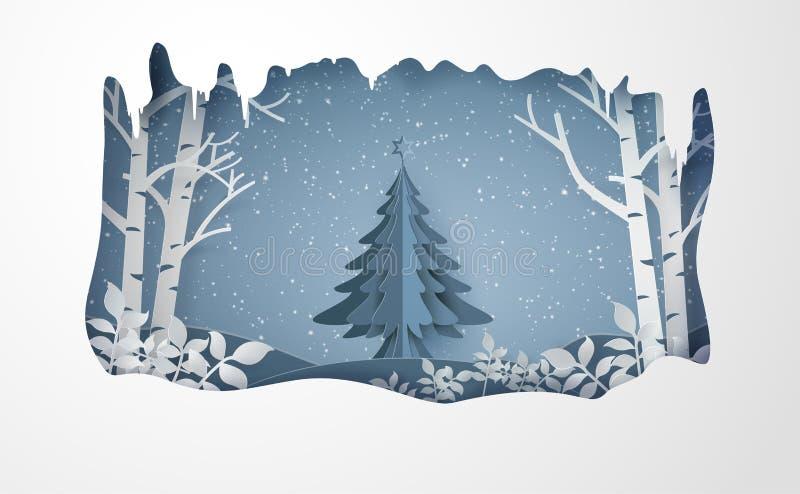 圣诞快乐和冬天与雪和冷杉木 皇族释放例证