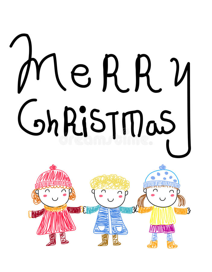 圣诞快乐和孩子 皇族释放例证