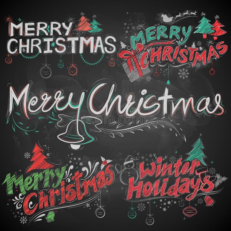 圣诞快乐和寒假白垩书信设计集合印刷术称呼招呼黑委员会背景 库存例证