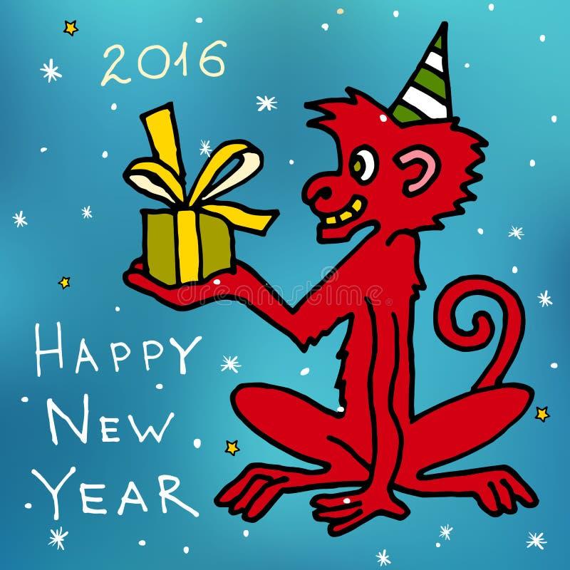 圣诞快乐和愉快的新的2016年动画片传染媒介明信片与红色猴子短尾猿与礼物 皇族释放例证