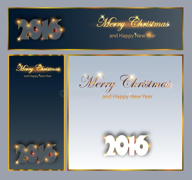 圣诞快乐和愉快的新的2016次年庆祝收藏 皇族释放例证