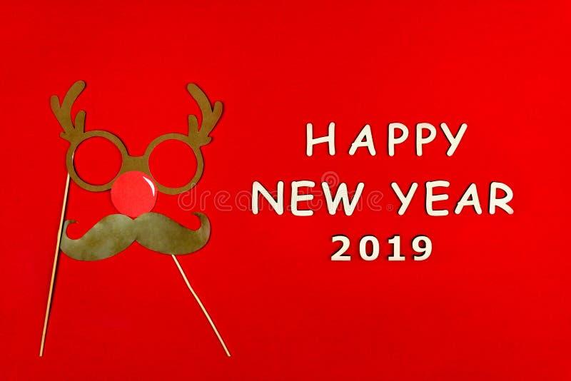 圣诞快乐和愉快的2019新年背景 免版税库存照片