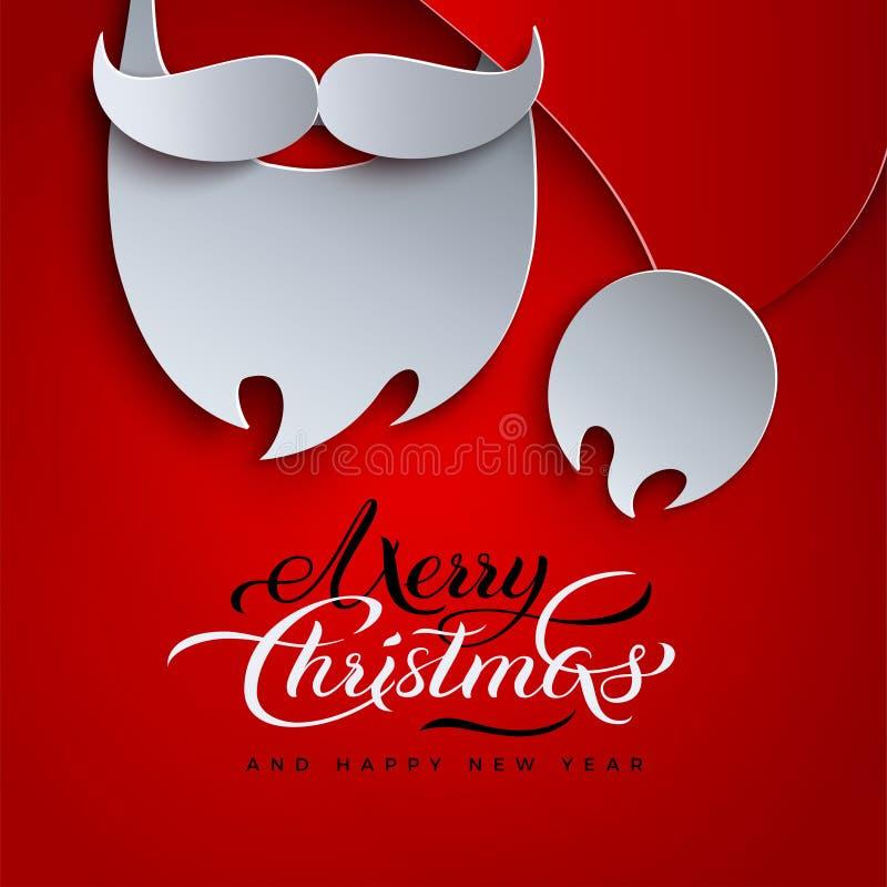 圣诞快乐和新年好假日为横幅,贺卡设计 红色背景, 3d纸切开了帽子,圣诞老人胡子 皇族释放例证