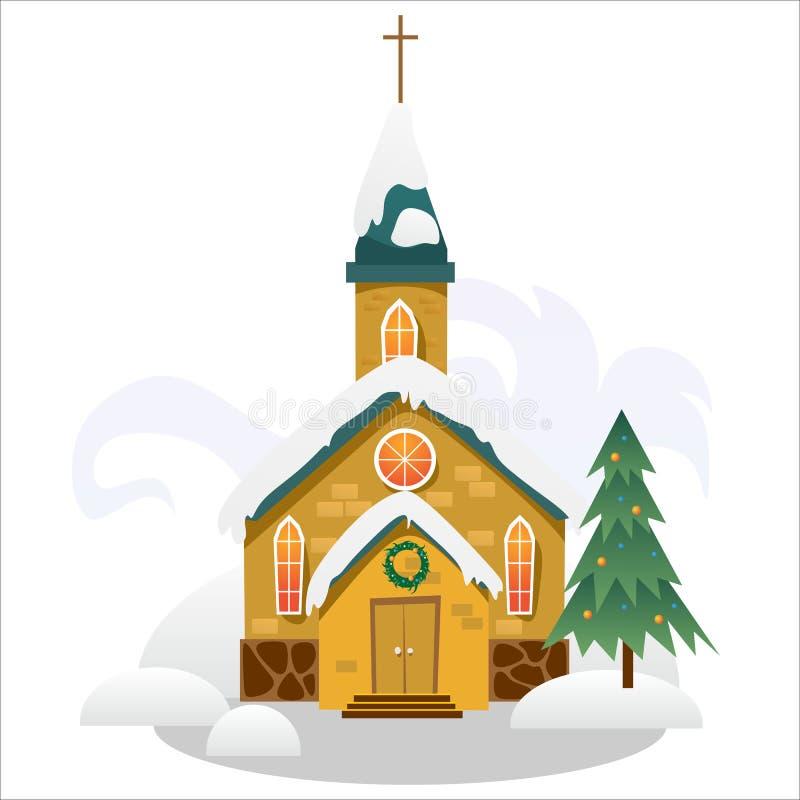 圣诞快乐和新年好卡片、教会和绿色树在雪、基督教和宽容冬天城市下 向量例证