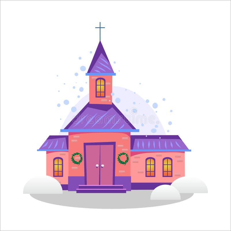 圣诞快乐和新年好卡片、教会和绿色树在雪、基督教和宽容冬天城市下 库存例证