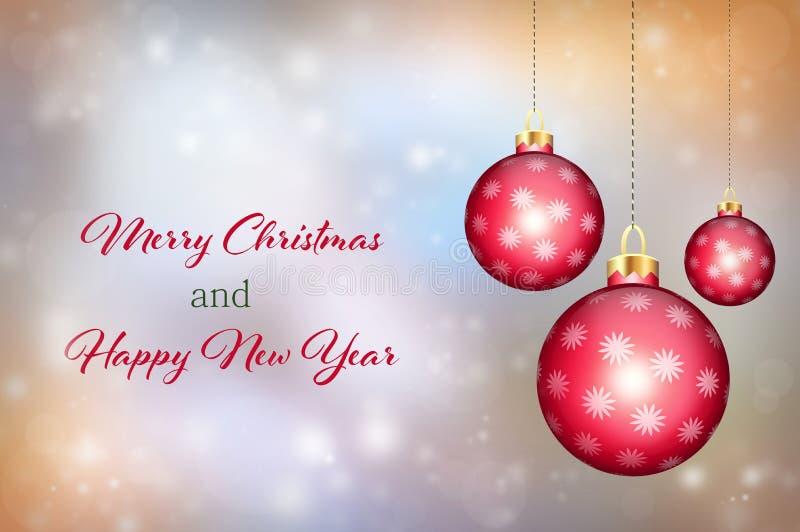 圣诞快乐和新年好卡片 皇族释放例证