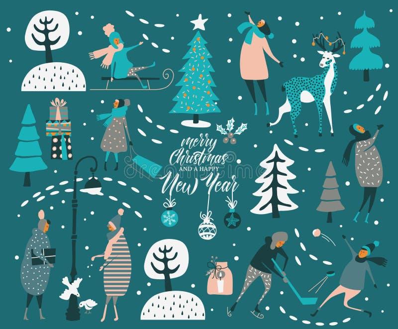 圣诞快乐和新年好导航与冬天比赛和人的贺卡 与冬天比赛的庆祝模板 库存例证