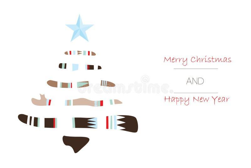 圣诞快乐和新年好贺卡与圣诞树在boho样式 向量例证