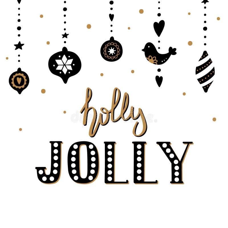圣诞快乐和新年好贺卡与手拉的诗歌选和字法霍莉愉快地 皇族释放例证