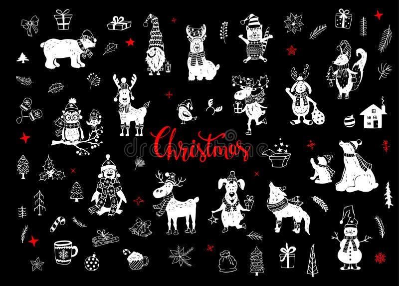 圣诞快乐和新年好逗人喜爱的滑稽的手拉的乱画动物现出轮廓汇集 库存例证