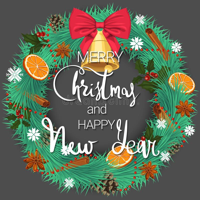 圣诞快乐和新年好 一个欢乐杉木花圈用桔子、桂香和美丽的响铃与弓 皇族释放例证
