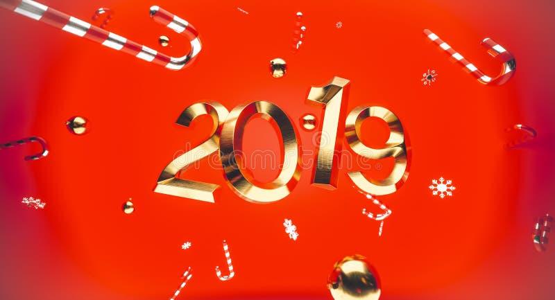 圣诞快乐和新年好 与礼物盒的背景 3d例证 Xmas装饰元素 库存图片