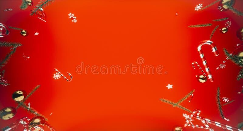 圣诞快乐和新年好 与礼物盒的背景 3d例证 Xmas装饰元素 库存照片