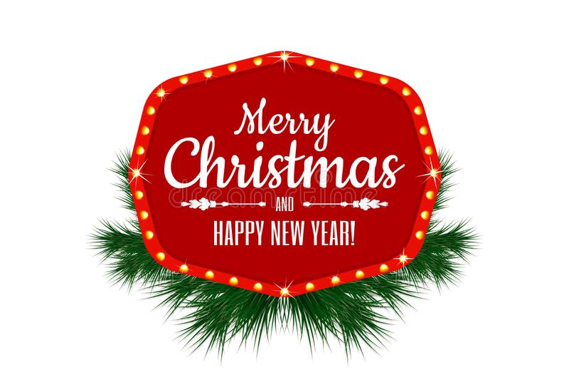 圣诞快乐和新年好 葡萄酒标志、横幅或者框架的假日装饰与圣诞树分支 库存例证