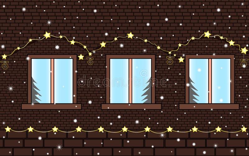 圣诞快乐和新年快乐与砖房子墙壁的传染媒介背景有窗口和欢乐照明的 皇族释放例证