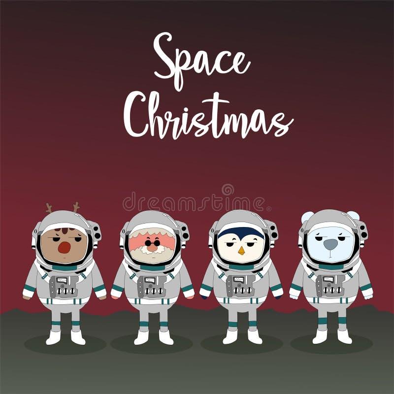 圣诞快乐和新年快乐与驯鹿、圣诞老人和coll 皇族释放例证
