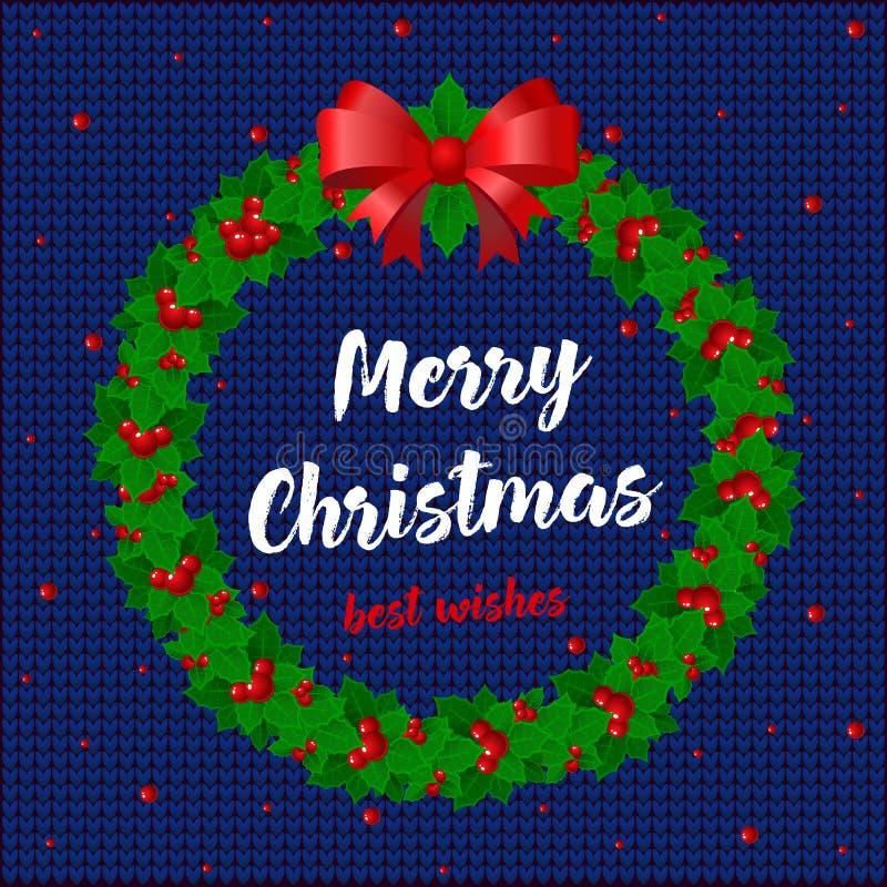 圣诞快乐和新年快乐传染媒介卡片 假日圆的框架霍莉、冬青属分支用莓果和叶子,槲寄生在蓝色k 向量例证