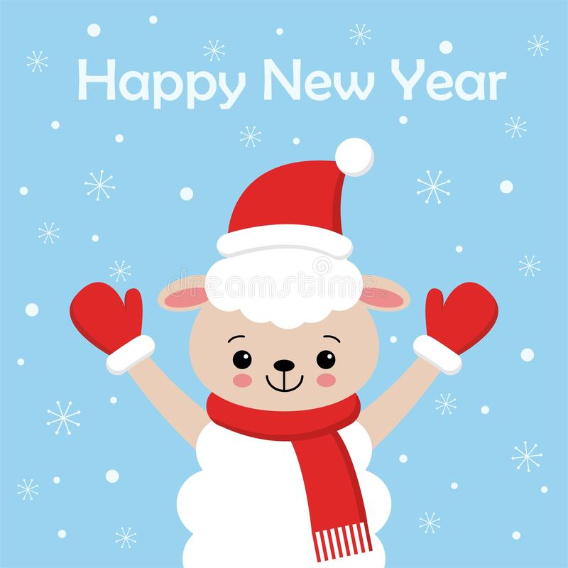圣诞快乐和新年快乐卡片设计 在圣诞老人帽子的滑稽的绵羊字符在冬天例证,在浅兰的雪 向量例证