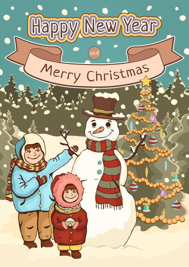 圣诞快乐和新年快乐卡片,海报,动画片五颜六色的图画,传染媒介例证,假日背景 逗人喜爱的男孩,女孩 向量例证