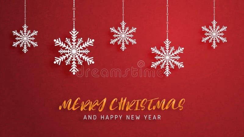 圣诞快乐和新年快乐在纸被削减的样式的贺卡 传染媒介例证在红色背景的圣诞节庆祝 库存例证