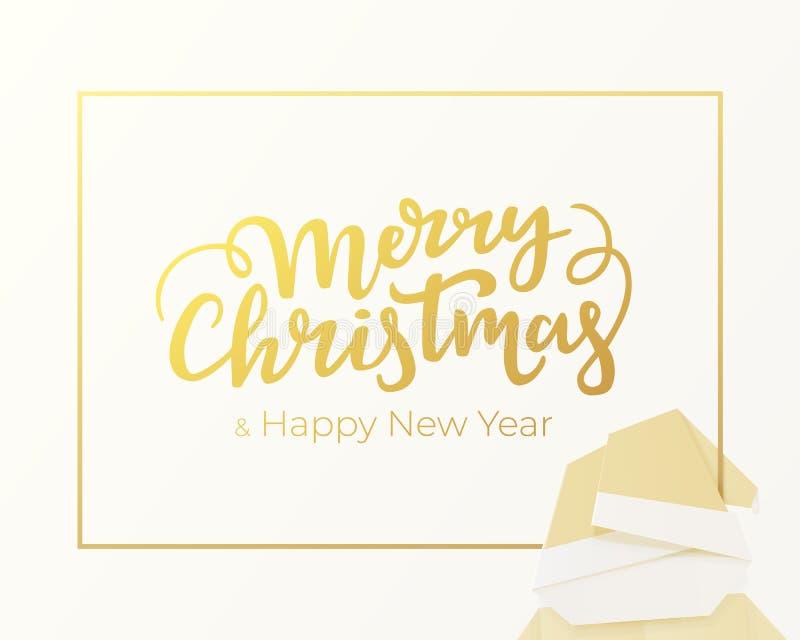 圣诞快乐和新年快乐字法由金箔制成 寒假贺卡设计有银色背景 库存例证