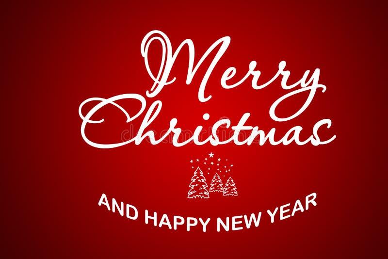 圣诞快乐和新年快乐文本书法书信设计卡片 假日问候礼物海报的创造性的印刷术 向量例证