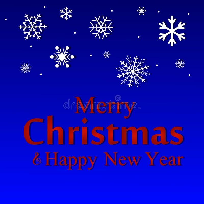 圣诞快乐和新年快乐文本标签在一个冬天 皇族释放例证