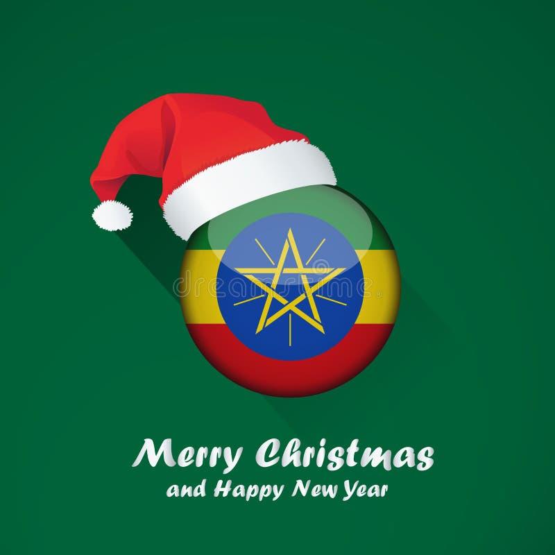 圣诞快乐和新年快乐背景设计与旗子光滑的回合  向量例证