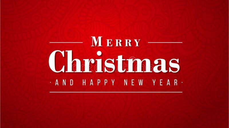 圣诞快乐和新年快乐豪华设计在红色背景 库存例证