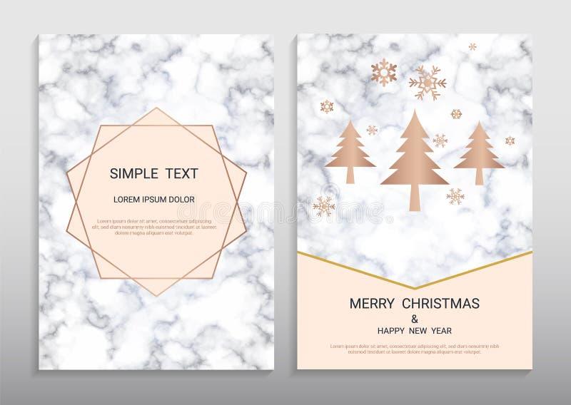 圣诞快乐和新年快乐贺卡设计模板 库存例证