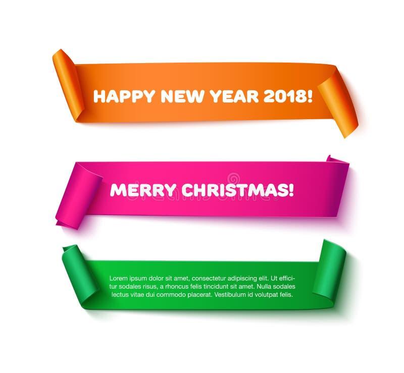 圣诞快乐和新年快乐贺卡,横幅 皇族释放例证