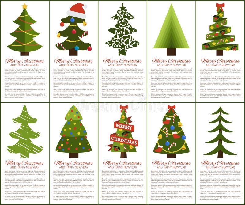 圣诞快乐和新年快乐贺卡 皇族释放例证