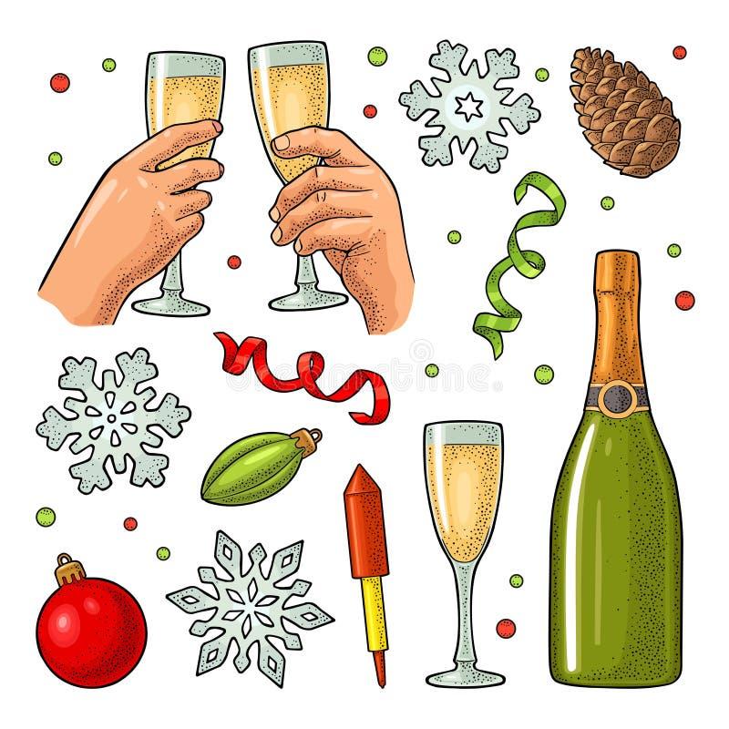 圣诞快乐和新年快乐集合 传染媒介葡萄酒板刻 向量例证