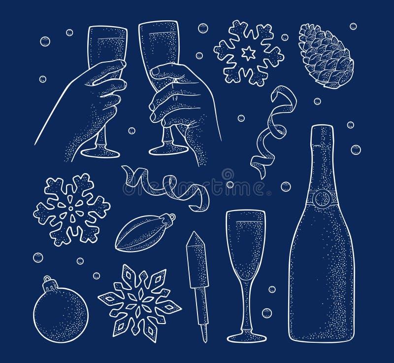 圣诞快乐和新年快乐集合 传染媒介葡萄酒板刻 库存例证