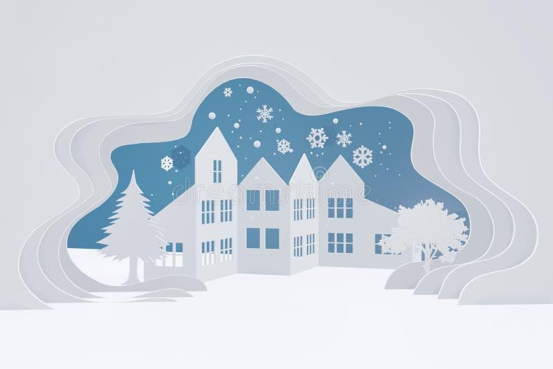 圣诞快乐和新年快乐,雪都市乡下风景,有拷贝空间的城市村庄 库存例证
