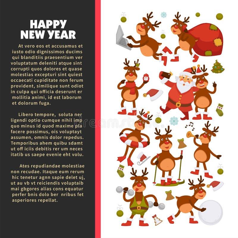 圣诞快乐和新年快乐2018导航鹿或驯鹿动画片滑稽的字符海报庆祝假日的 皇族释放例证