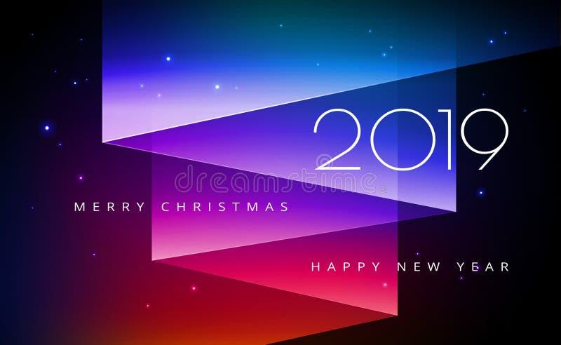 圣诞快乐和新年快乐2019年与Auror的贺卡 皇族释放例证