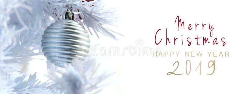 圣诞快乐和新年快乐2019年横幅 免版税库存图片