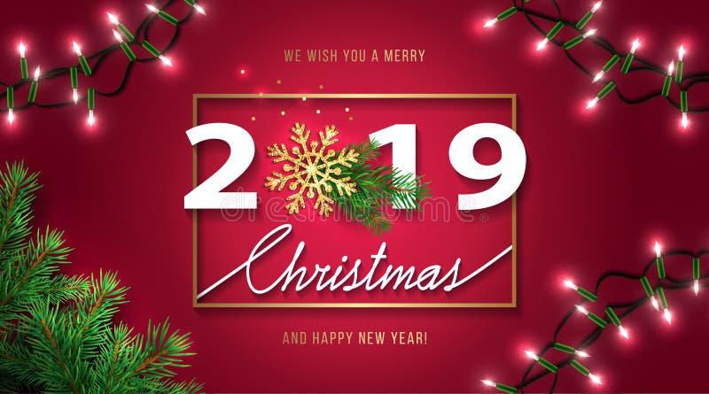 圣诞快乐和新年快乐2019年贺卡 与季节愿望的圣诞节背景,发光的金雪花,现实 皇族释放例证